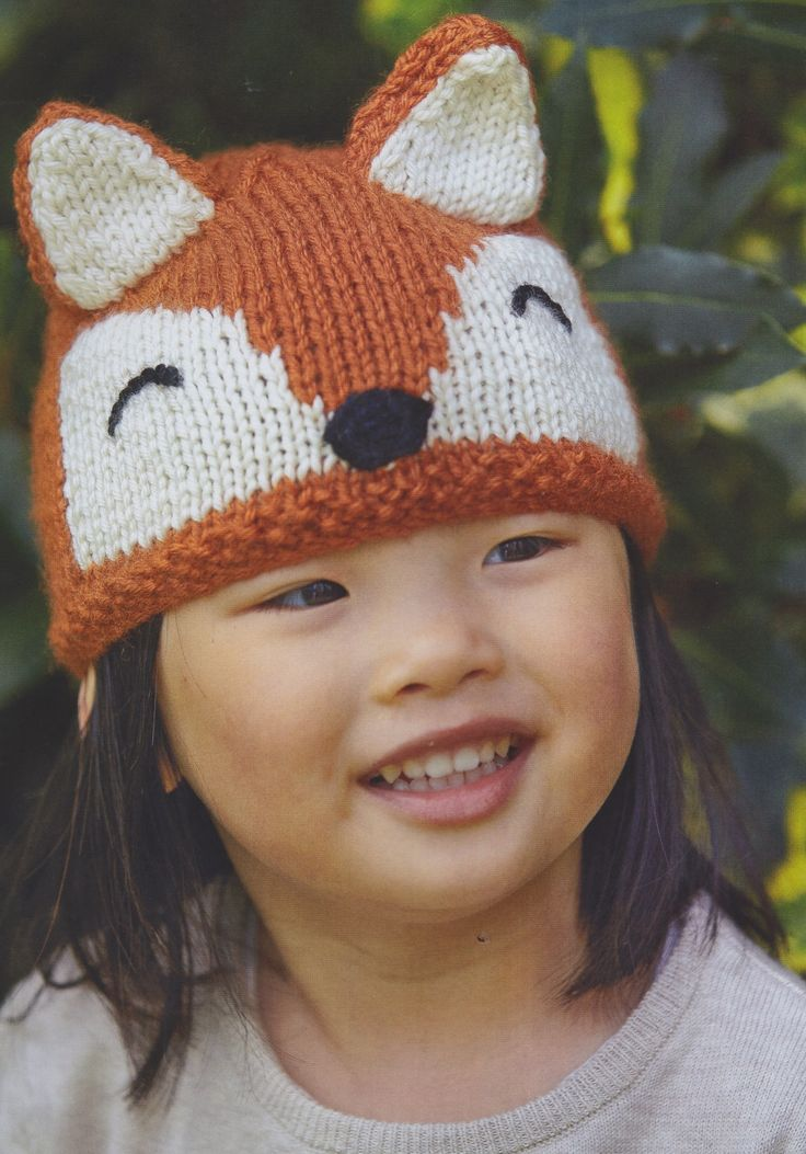Fox hat for toddlers from my book, Knitted Animal Nursery, 2017