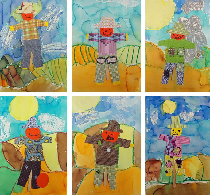 Scarecrow art project: watercolour and collage