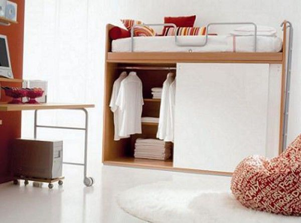 Furniture, amusing style wardrobe creative bed underneath bunk bed as well as desk and computer set: Wonderful Clothes Storage Ideas Design