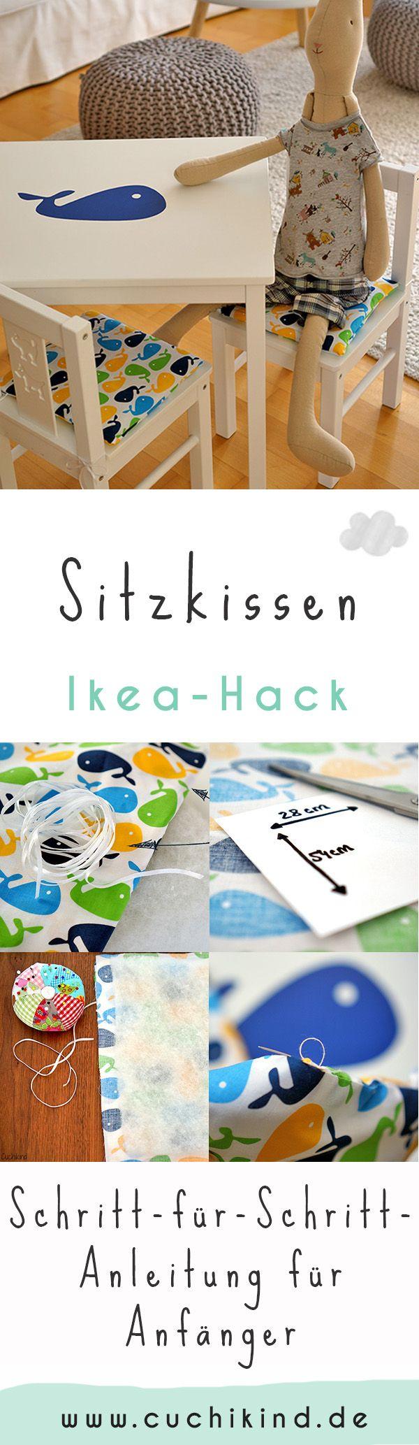 Ikea-Hack: Verschönerung der Kindersitzgruppe. Schritt-für-Schritt-Anleitung zum Nähen zweier Sitzkissen und Klebefolie auf dem Tisch. Nähtutorial für Anfänger. #nähtutorial #nähaneitung #nähenfürkinder #ikea #ikeahack