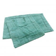 Super Soft 100% Cotton Pile Bath Mat Set - Teal Blue