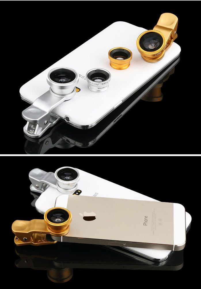 Gold Universal 3 in 1 Clip On FishEye Wide Angle Macro Lens kit for Cell Phone