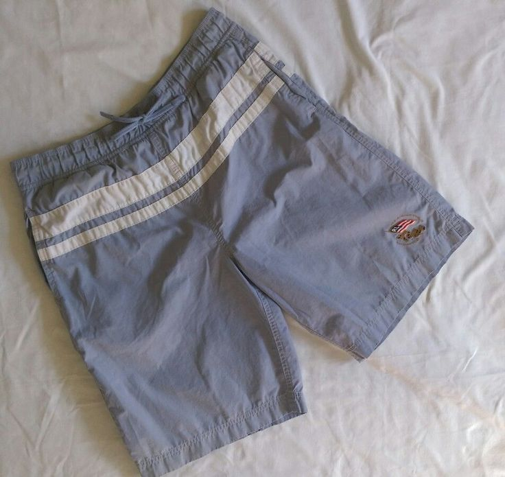 Vintage Mens Polo Jeans Co. Raph Lauren Board Shorts Sz Med Blue White B17-17 #RalphLaurenNewYorkPoloJeansCo #BoardSurf