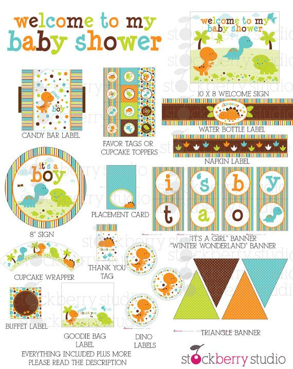 Baby Shower Party Package Dinosaurs Printable Kit - Instant Download  ***Matching Invitation, Baby Shower Games, Diaper Raffle Tickets, Book
