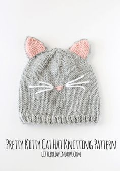 The pretty kitty cat hat knitting pattern is modeled after our former beloved pet who had the cutest little pink nose. Your sweet little kitty will look just as cute in this hat with its cute pink ears and adorable whiskers. Meow! -cat hat pattern, kitty