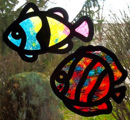 Crafts for Kids — Crayon Stained Glass - Wax crayon shavings melted onto wax paper