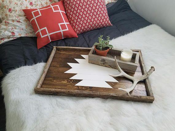 Reclaimed wood serving tray; decorative tray, coffee table tray, wooden tray, ottoman tray, breakfast tray, large tray, wood tray, aztec
