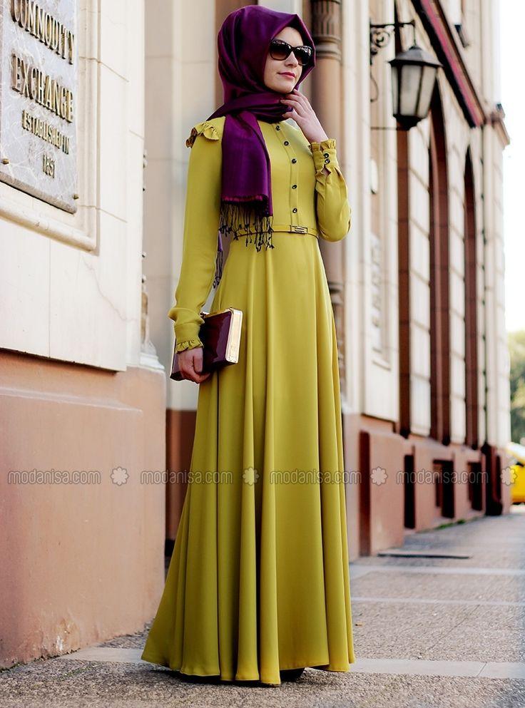 Stil Fırfırlı Elbise - Oksit Sarı - Gamze Polat