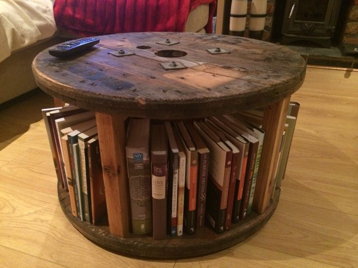 Great use of a cable drum and some teak oil.