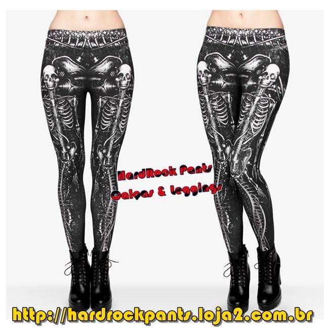 Legging Esqueleto de Sereia em Algodão #calça #legging #estampada #esqueleto #caveira #sereia #mermaid #HardRockPants