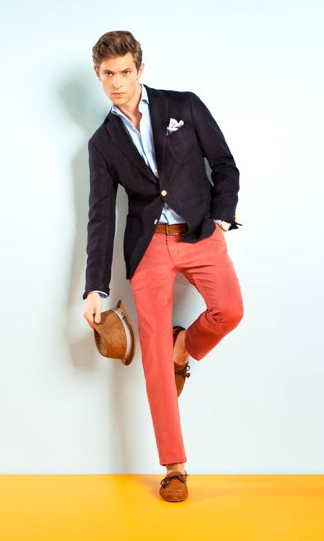 Men's Black Blazer, Light Blue Dress Shirt, Red Chinos ...