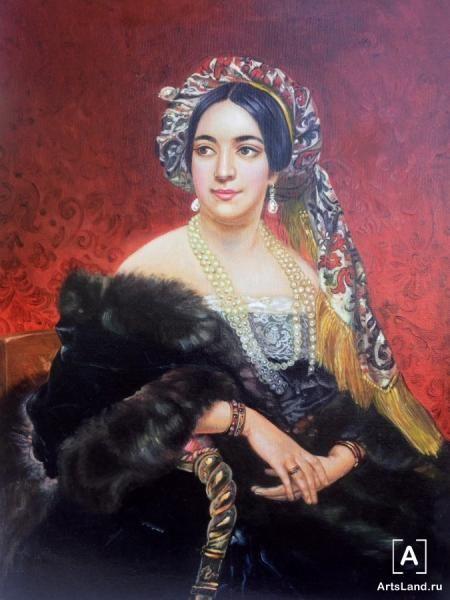 Портрет женщины в жемчужном ожерелье. Купить работы автора – Светлана Бондарь - Art Auction ArtsLand