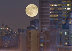Full moon always comes about two weeks after new moon, when the moon is midway around in its orbit of Earth, as measured from one new moon to the next.