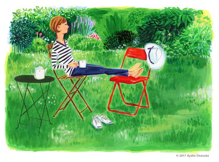 ayako onozuka #illustration #Fashion #Liquitex #イラストレーション #女性 #Woman #小野塚綾子 #Acrylic paint #リキテックス #interior #インテリア #garden