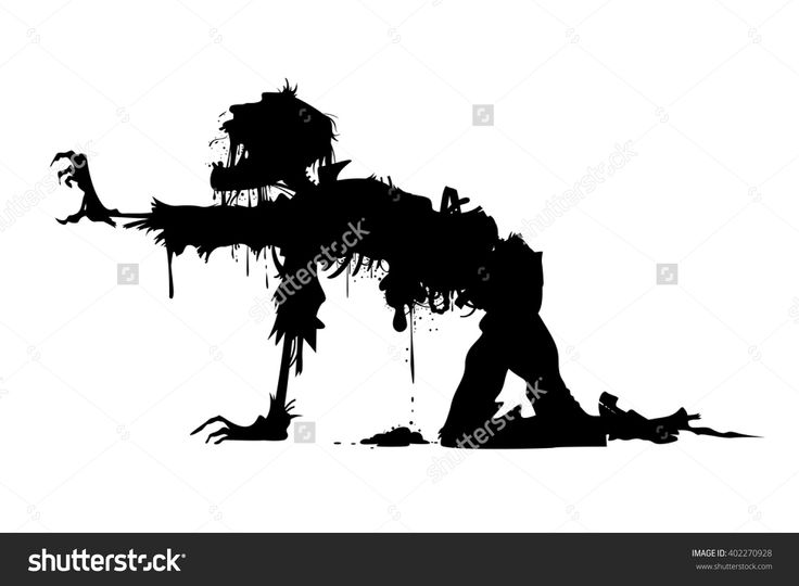 rotting zombie soldier vector silhouette