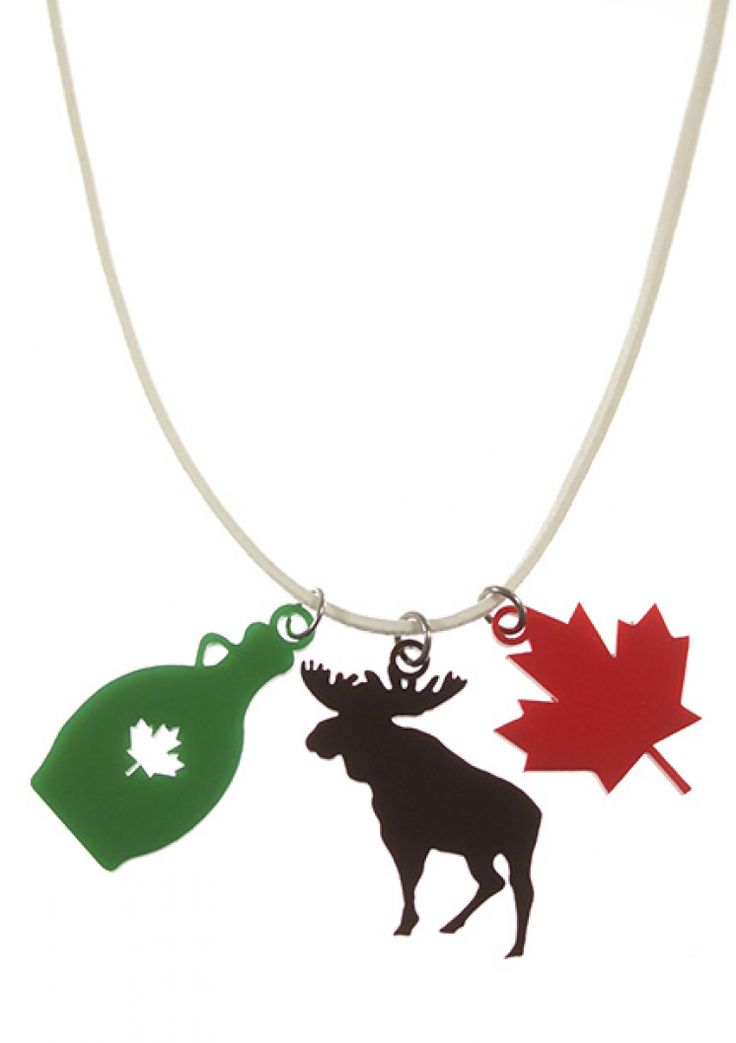 Oh Canada. Canadian kid necklace, laser cut maple syrup, moose and maple leaf.