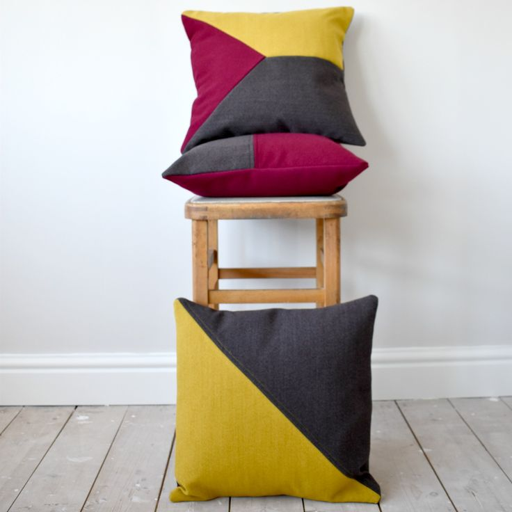 Bespoke and unique cushions.  Geometric designs. Handmade using quality wool fabric, custom orders available.  Visit my website www.wagnerbirtwistle.co.uk