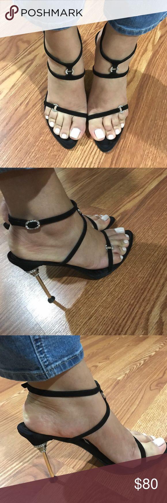 Sergio Rossi Strappy Heel Sergio Rossi Black Strappy Metal Heel with crystals Sergio Rossi Shoes Heels