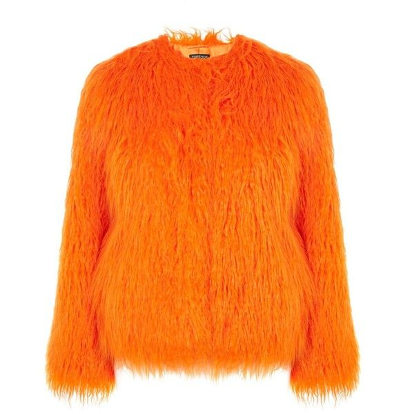 Topshop Brighty Mongolian Faux Fur Coat (€89) ❤ liked on Polyvore featuring outerwear, coats, orange, orange coat, fake fur coat, faux fur coat, topshop coats and imitation fur coats