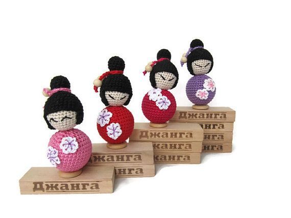 bendy doll wooden toy tiny asian doll's doll pocket by KrugerShop