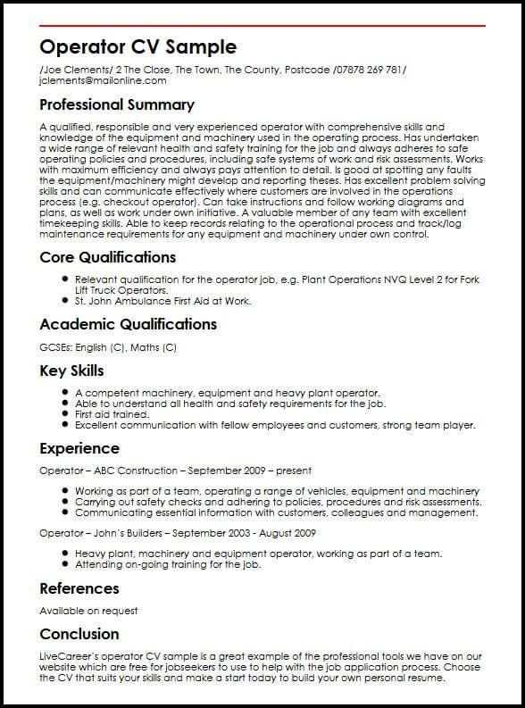 Operator Cv Sample Myperfectcv Resume Examples Good Resume Examples Personal Trainer Jobs