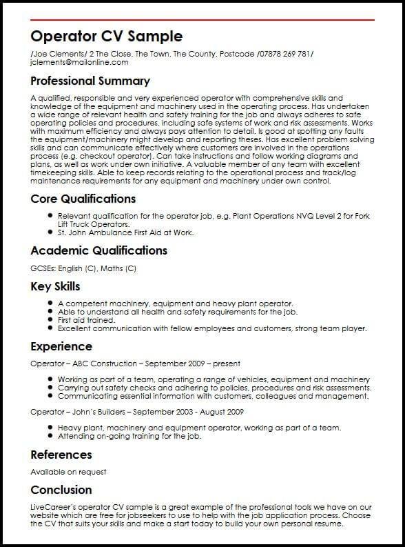 Operator Cv Sample Myperfectcv Resume Examples Good Resume Examples Resume