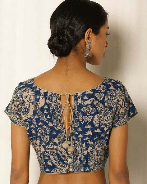Buy Blue & Beige Indie Picks Kalamkari Print Cotton Blouse