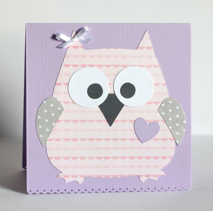 Carte hibou pour félicitations naissance ou anniversaire petite fille, parme, gris, rose : Cartes par latelierdesconfettis