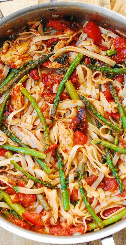 Tomato Asparagus Chicken Fettuccine Pasta – healthy dinner