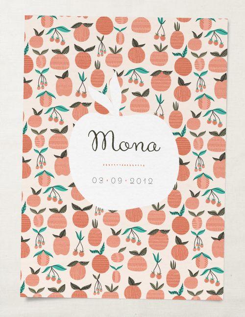 Elisabeth Olwen pattern design for baby announcement