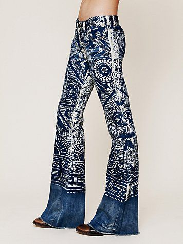 So awesome! - patterned Free People flare jeans.