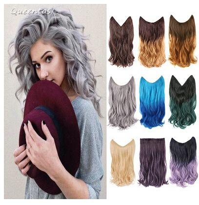 Secret Hair Extension Highlight Powdery Violet Long Wavy Kanekalon Fiber Hair Weft