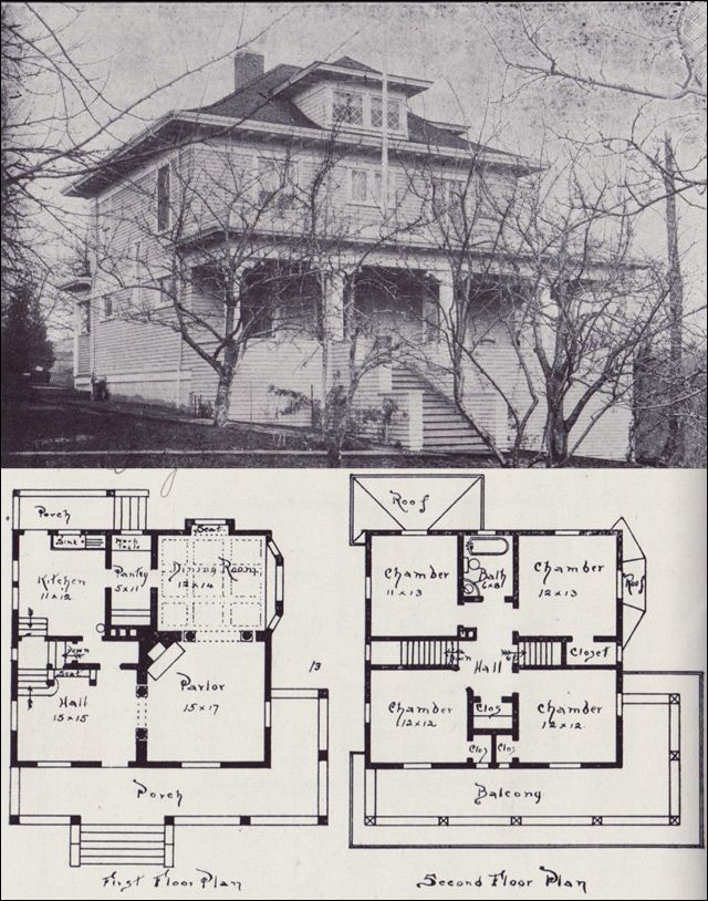 1908 western home builder design no 13 v w voorhees for Western floor plans