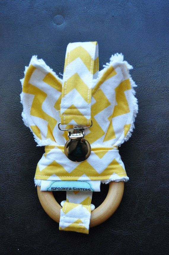 Yellow Chevron Wooden Organic Teething by SpoonerSistersDesign, $30.00