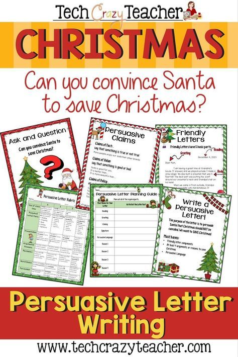 Santa has decided to cancel Christmas! Can you persuade him with your personal letter to save Christmas? Students write persuasive letters to convince Santa to save Christmas! This resource is filled with graphic organizers to help your students craft the perfect persuasive letter. It also contains posters that can be printed or projected. It includes a poster on persuasive claims and on friendly letters!