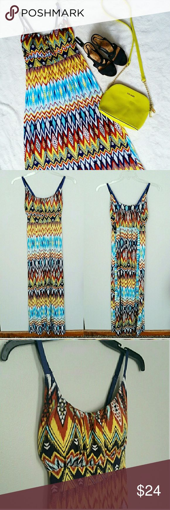 Vibrant Summer Aztec Maxi Dress Vibrant Aztec Maxi Dress This beautiful dress is NWT originally bought for $50 plus tax. It has pads in the chest so you don't need to wear a bra, it ties in the back, and it has adjustable straps. Armpit to armpit measurment is 14 inches across. Waist measures 14 inches across. Skirt is 1 inches in length. Neck to hem measures 46 inches. Hem width is 28 inches. The material feels like a maxi skirt, a soft tee feel. 97% rayon 3% spandex. new directions Dresses…