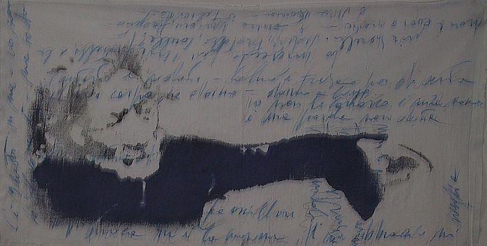 """autore: Francesca Scammacca - """"C'è questo in me"""" - acrilici, grafite e pastelli su tela - cm 110x70 - 2001"""