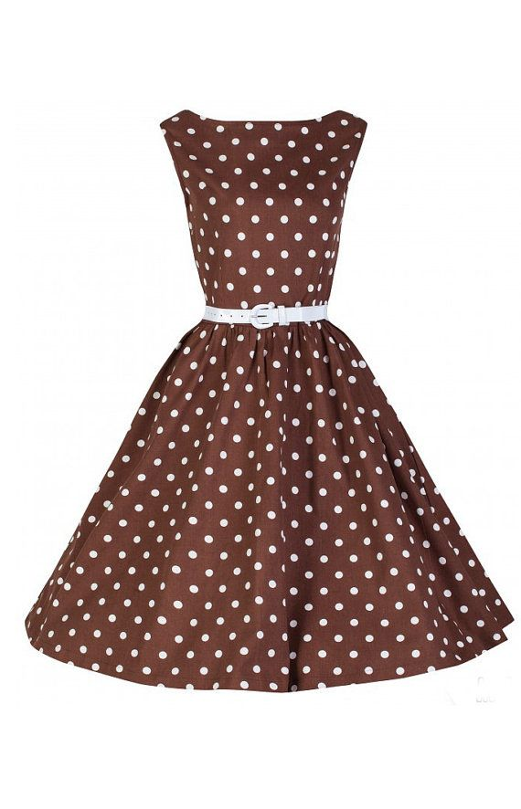 Retro dress Julia  brown with white dots by PertlyBeast on Etsy