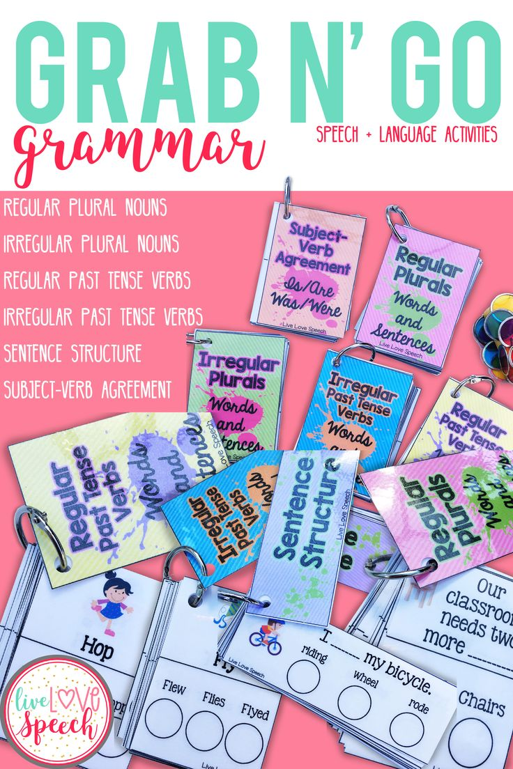 This Grab N' Go pack is perfect for students working on using and comprehending syntax and morphology. Additionally, this pack can be used for labeling nouns & verbs and expanding utterances.  There are cards for: Regular and Irregular Plural Nouns, Regular and Irregular Past Tense Verbs, Sentence Structure, and Subject-Verb Agreement.