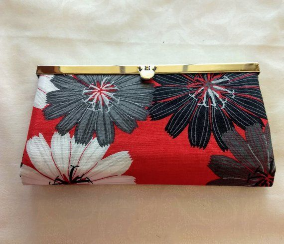 Women's wallet, Red and black wallet, Diva frame closure, Credit card holder, Zippered coin pocket, Cell phone pocket, Gift, Clutch purse