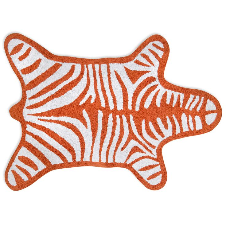 Zebra Bath Mat   Orange