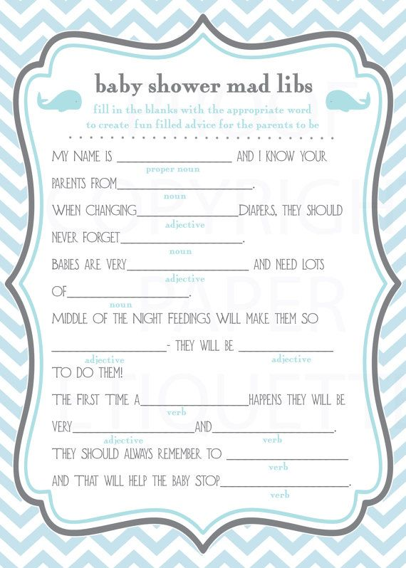 Whale Baby Shower Game Mad Libs - Blue and Gray Chevron -  Print Your Own