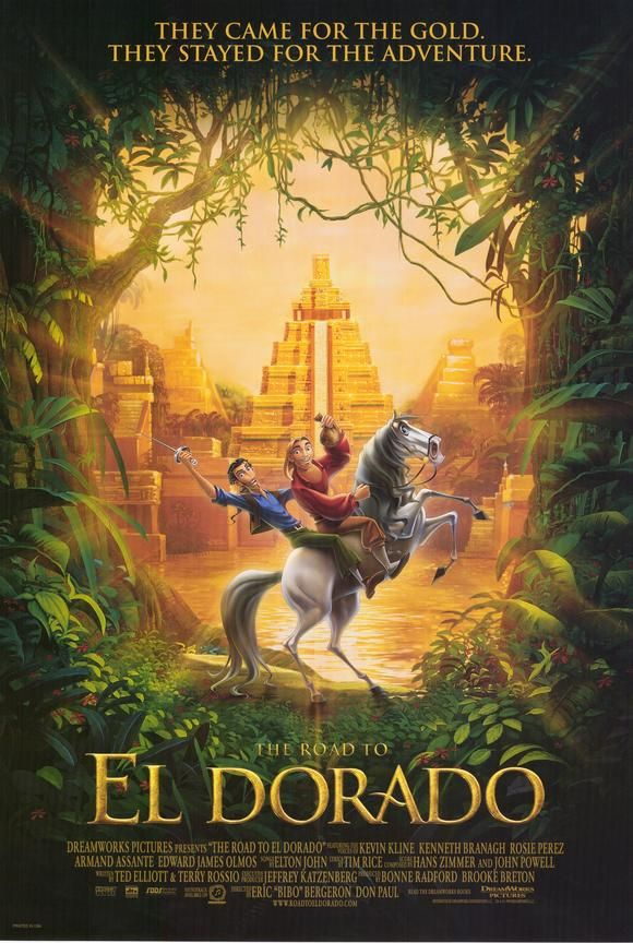 The Road to El Dorado es formidable! J'aime Migual et Tulio! Eton John a fait la musique pour le film et j'adore lui! Avant je obtenis youtube sur ma electroniques, je ne regardais pas le film, jus a ecoute a la musique.