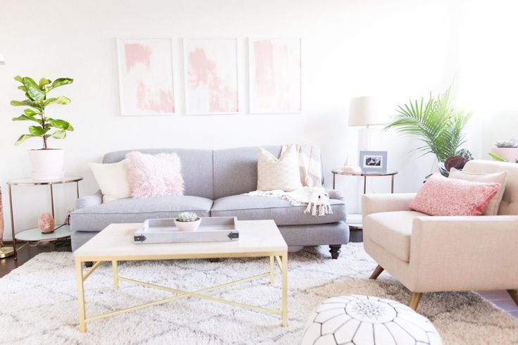 Pink and gray living room design with mixed metallic accents and relaxing, spa-like textures and vibes.