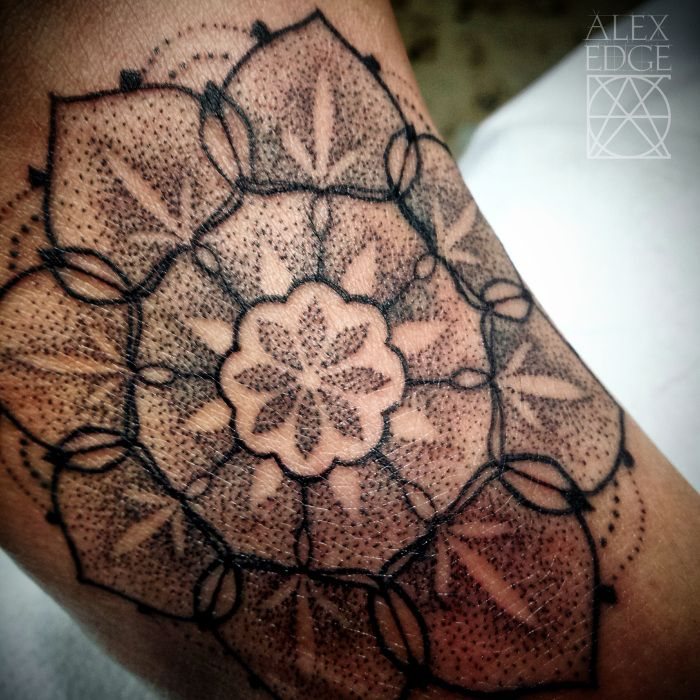 Tattoos | A little top of the foot dotwork mandala done by Alex Edge tattoos in San Diego, CA check out www.alexedgetattoos.com for more