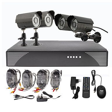 4 Outdoor Day Night CCTV Home Video Surveillance Security Camera Kit – USD $ 99.99