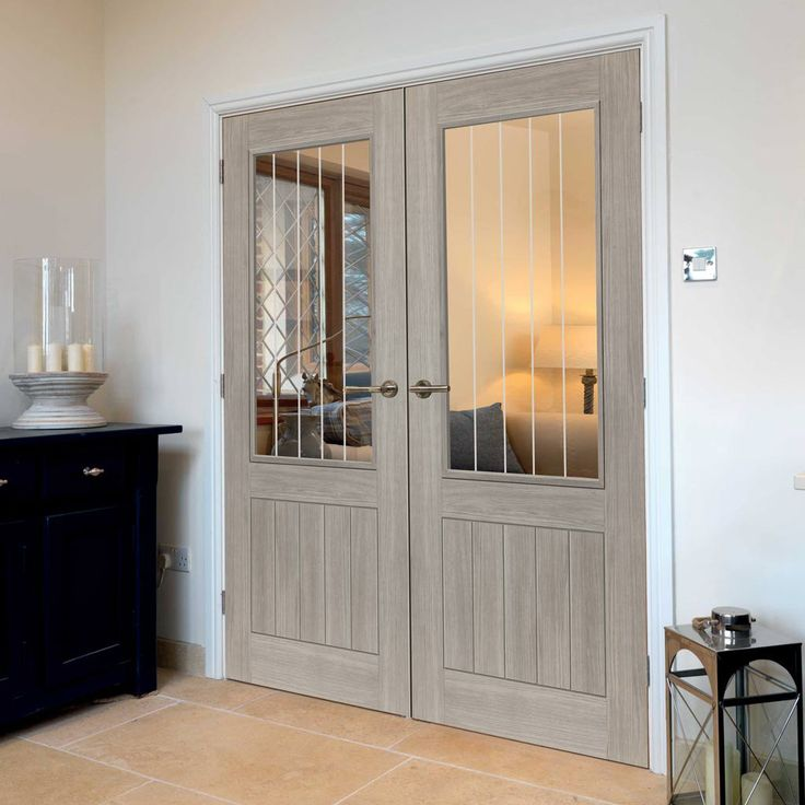 Laminates Colorado Grey Coloured Door Pair with Clear Safety Glass is Prefinished - Lifestyle Image.    #frenchdoors #doorpair