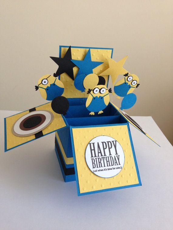 Handmade Happy Birthday Card In A Box Pop Up Kids Minion Despicable Themed
