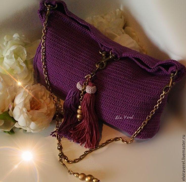 Купить Вязаный комплект сумка и украшение ''ВИОЛЕТТА БОХО-ШИК'' - комбинированный, однотонный, сливовый цвет