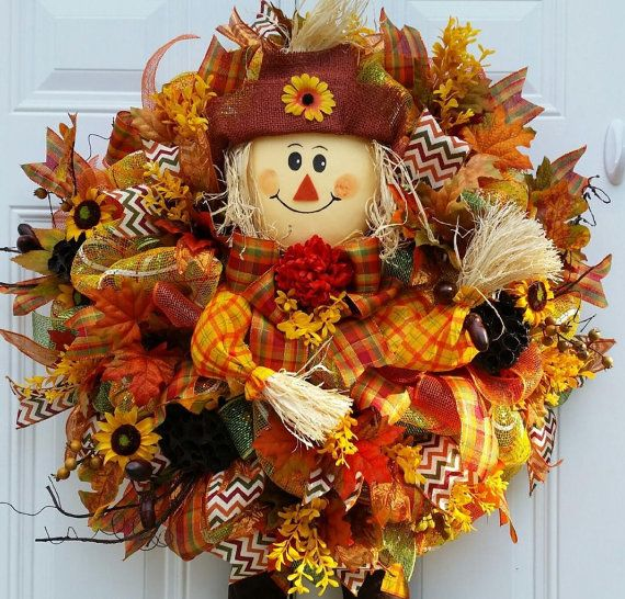 Scarecrow Wreath-Deco Mesh Fall by StudioWhimsybyBabs on Etsy